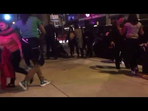 Girl curb stomps someone while police holds them down!!