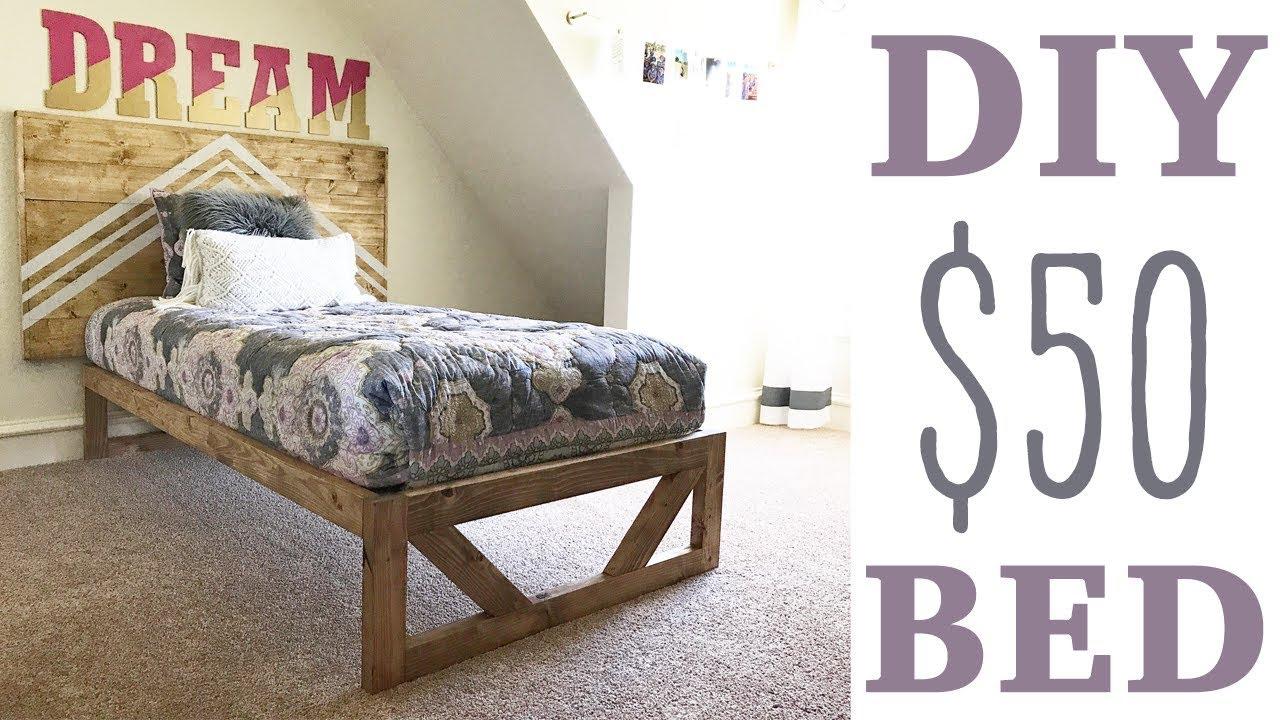$50 Modern Platform Bed - YouTube