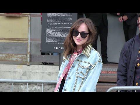 50 Shades of Grey star Dakota Johnson at the Gucci Fashion Show in Milan