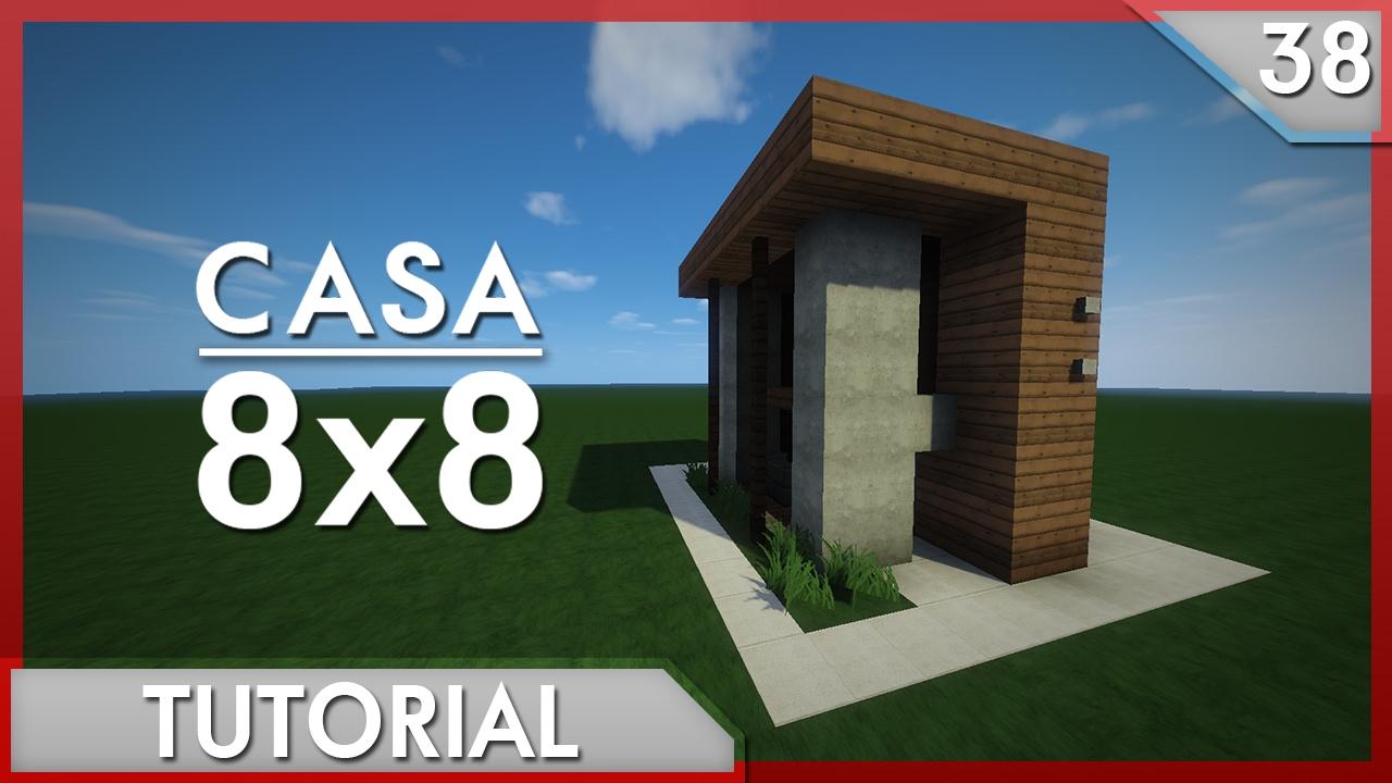 minecraft como hacer una casa moderna 8x8 tutorial