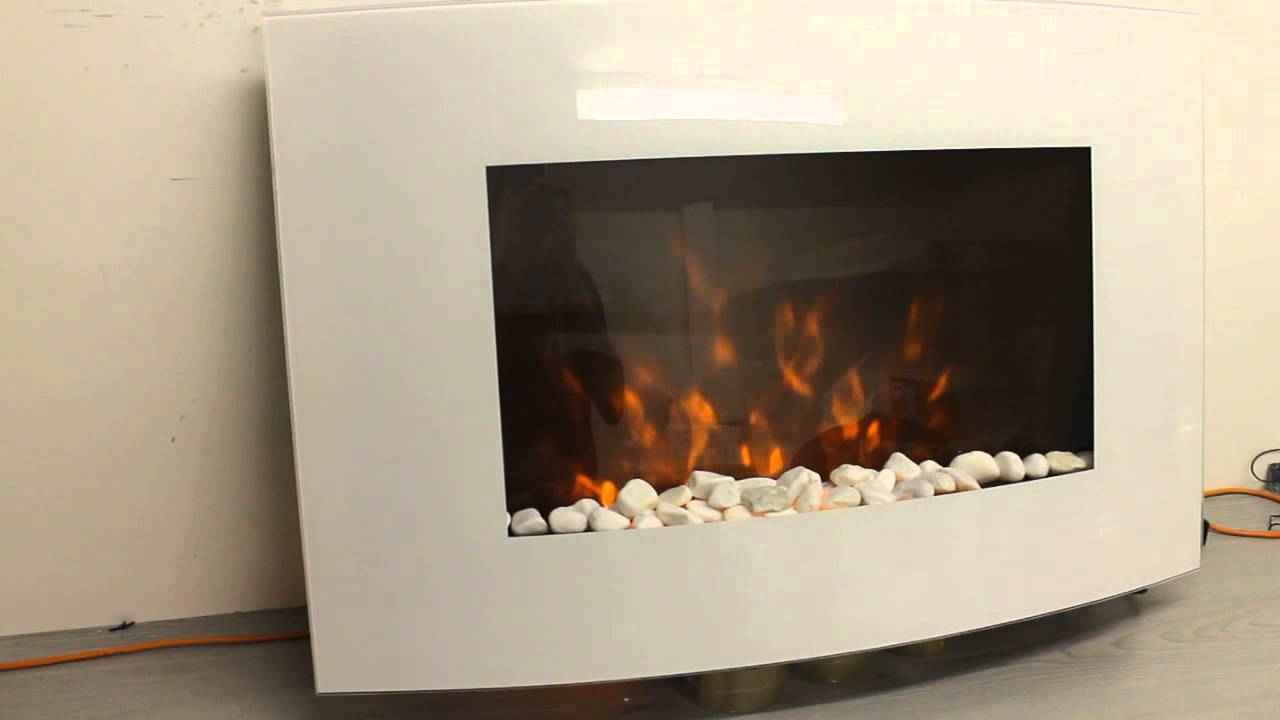 new premium product white glass wall mounted electric fire youtube