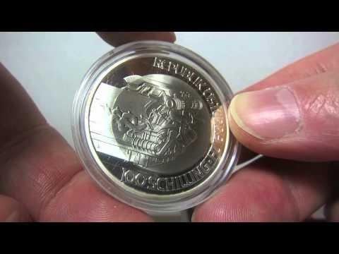 Austria 100 Schilling 2001 Bimetallic TITANIUM Silver