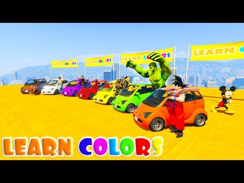 Thumbnail: LEARN COLORS SMALL CARS & MOTORCYCLES FUN JUMP with Superheroes 3D Cartoon for kids