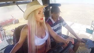 Incredible Modern Farming Pretty Girl Tractor Driver Combine Harvester Machines John Deere Chainsaw