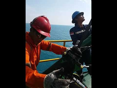Greasing Wirerope Pedestal Crane in Offshore Platform
