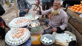 60 Years Old Man Selling Pure Healthy food Boiled Duck Eggs & Cow Milk Delicious street foods