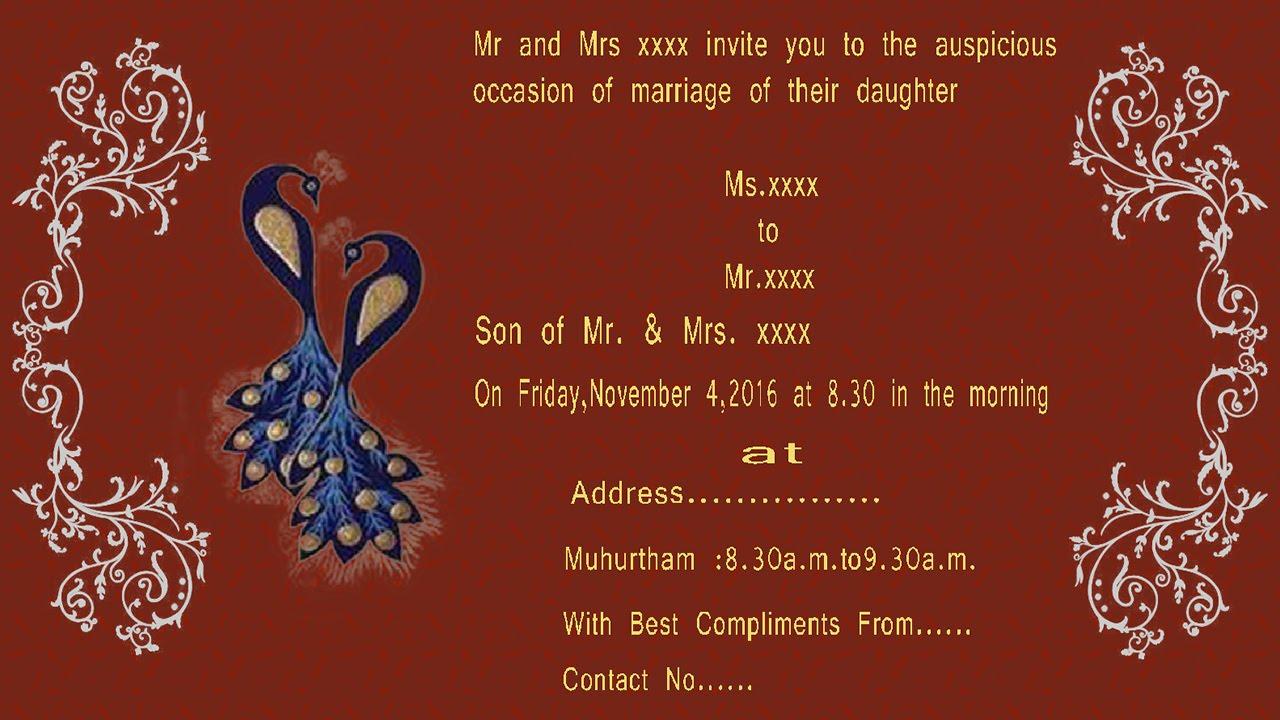 How To Design A Wedding Invitation Card In Photo Tamil With Esubs You