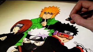 Drawing and Coloring Naruto Characters (Time Lapse)