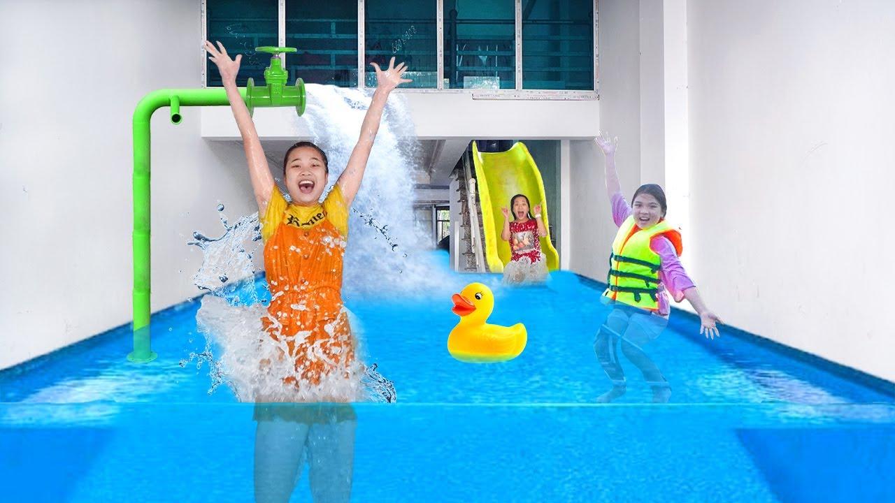 Làm Bể Bơi Dưới Tầng Hầm ❤ Mùa Hè Đến Rồi Ngủ Trong Nước ❤ Trang Vlog