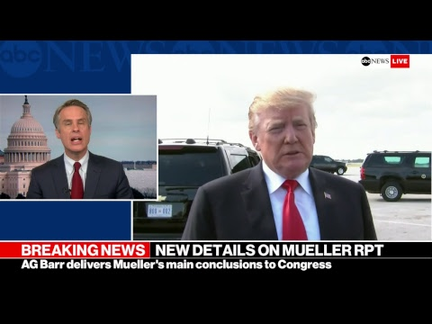 Mueller report -  AG Barr letter: No conclusion on justice obstruction   LIVE ABC News report