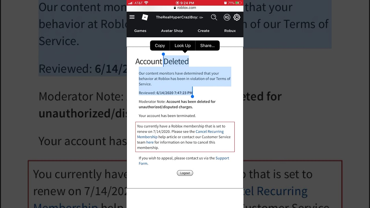 My roblox account was terminated for nothing? YouTube