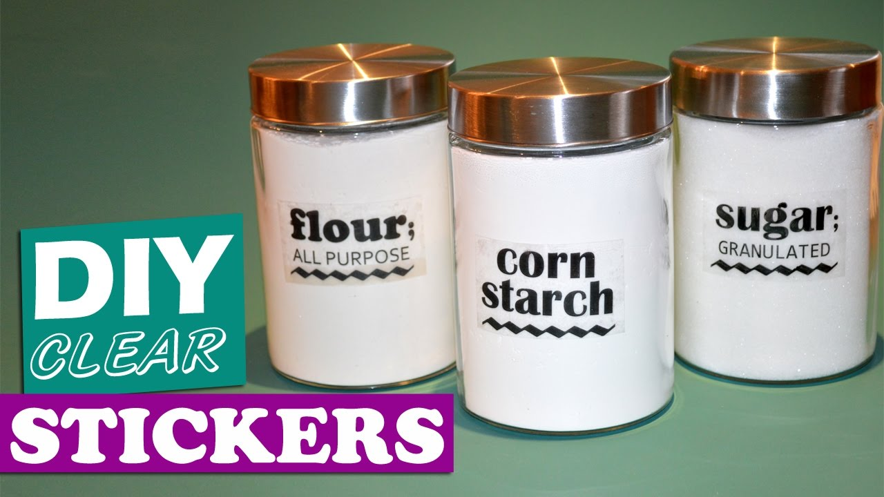 clear kitchen canisters table for small spaces how to make stickers - diy transparent labels youtube