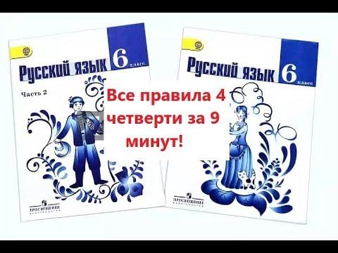 Все правила русского языка за 4 четверть в 6 классе за 9 минут!