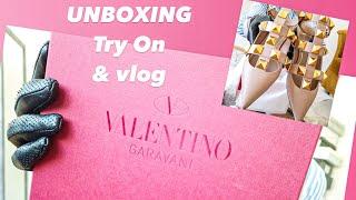 Valentino Garavani Roman Stud leather point-toe flats ballerina shoes Unboxing Try On & Vlog
