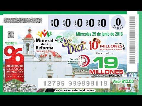 """Sorteo de Diez No. 106 del Miércoles 29 de Junio de 2016.  """"Mineral de la Reforma 1920 - 2016"""""""