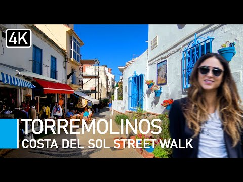[4K] Torremolinos, Costa Del Sol, Spain. Town, steps & beach, virtual walk with natural sounds