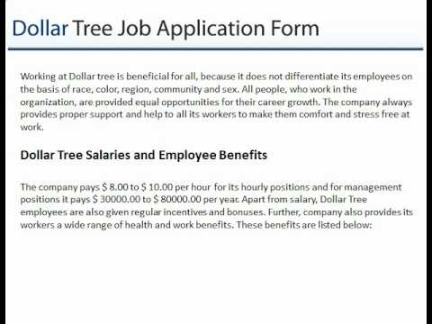 Dollar Tree Job Application Form Online - Youtube
