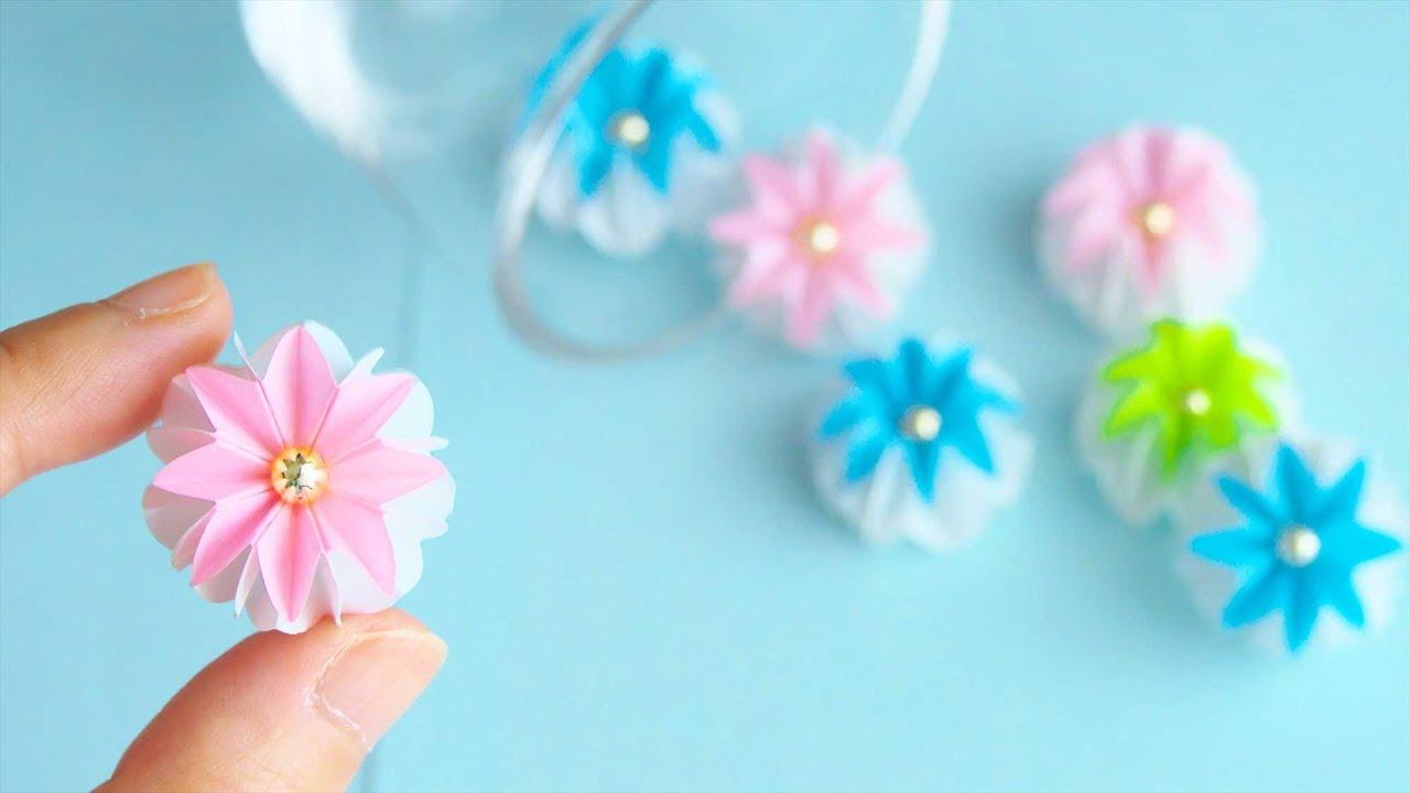 円形クラフトパンチで作るぷっくり可愛い花の作り方 - DIY How to Make Paper Flowers