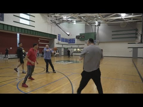 Brothers Philanthropists Shlomo Yehuda and Yisroel Rechnitz Playing Basketball with Stars