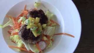 How To Make Healthy Thai Spiced Turkey Burgers With Chinese Salad And Mango Salsa
