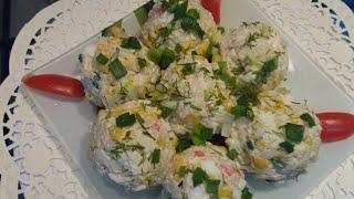 Крабовый салат в оригинальном оформлении