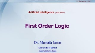 First Order Logic - Syntax and Semantics