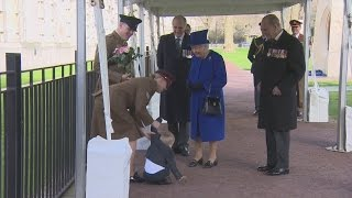 Toddler throws tantrum with the Queen and Theresa May