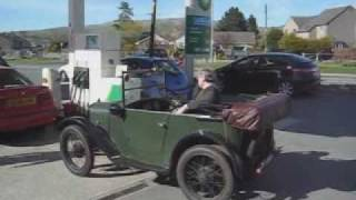 Our little baby Austin 7 pops out for some fuel