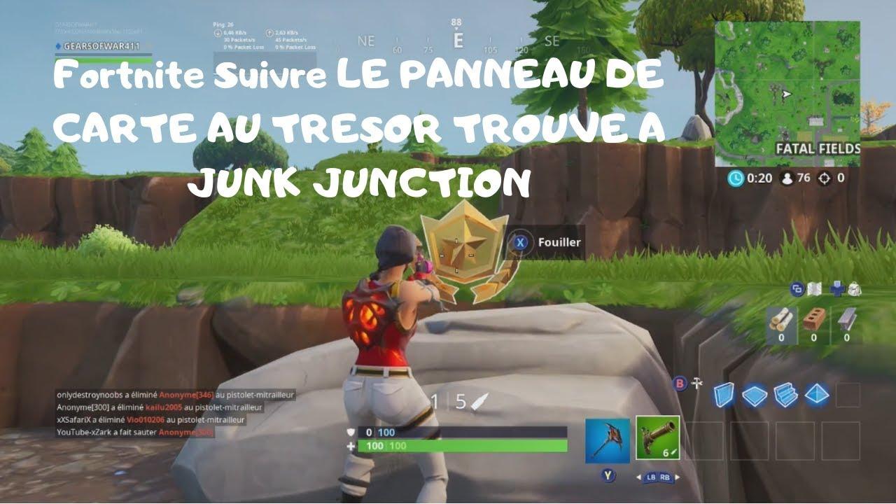 Carte Au Tresor Trouve A Junk Junction.Fortnite Suivre Le Panneau De Carte Au Tresor Trouve A Junk Junction