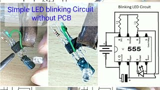 Simple Blinking LED Circuit using 555 timer - by Manmohan Pal