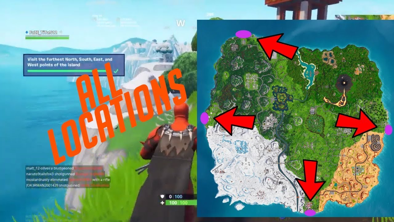 """""""Visit The Furthest North, South, East, and West Points of The Island"""" ALL MAP LOCATIONS"""