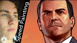 How to draw Michael from GTA5 (speed painting)! Amazing timelapse by Davide Ruvolo