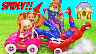 BARBIE KIDS POWER WHEELS Fail! Spidey Takes Over Crazy Barbie Channel DisneyCarToys
