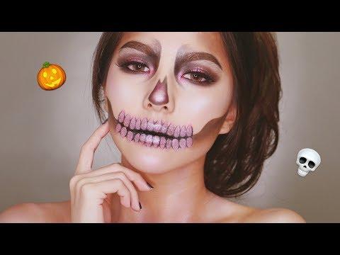Pink Glam Skeleton/Skull Makeup Tutorial for Halloween 2018 🍂🎃