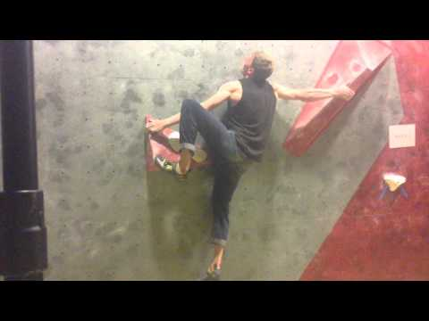 Adam Watson goes closest on men's problem 2, ASBO 15 at Climb Newcastle