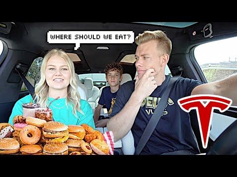 Letting Our Tesla DECIDE What we eat for 24 hours!!