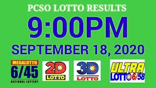 PCSO Lotto Result Today 9pm September 18, 2020 2d,3d,ez2,swertres,6/45,6/58
