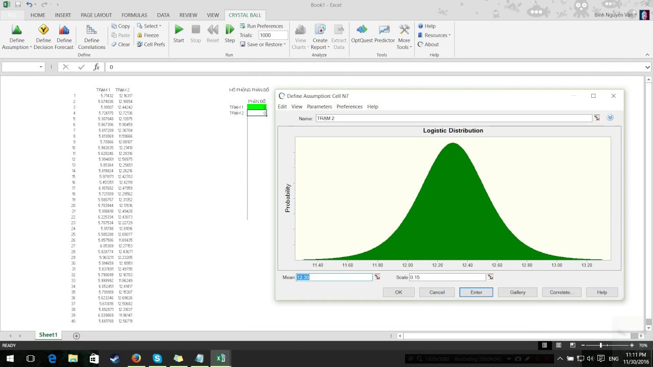 Simulation by Crystal ball (Excel) + Fake Data - YouTube