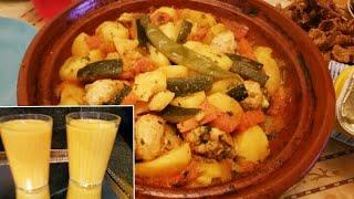 فطور طاجين الخضر بعقلو وعصير منعش يروي العروق من تقديم نادية الفاسية