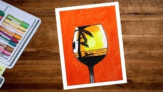 How To Draw Sunset Scenery Drawing With Oil Pastel | Creative Beach Drawing | Oil Pastel Drawing