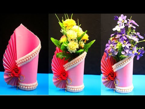 How to make a paper vase at home - DIY Simple paper craft -