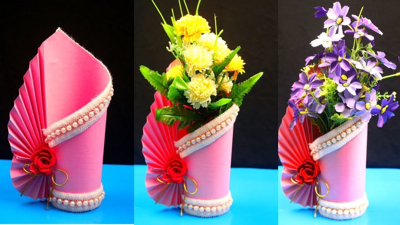 How To Make A Paper Vase At Home Diy Simple Paper Craft Paper