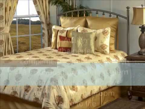 Avalon Ivory and Gold Floral Bedding Collection by Victor Mill