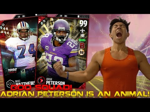 NEW 99 OVR ADRIAN PETERSON IS AN ANIMAL! UNSTOPPABLE TEAM! MADDEN 17 ULTIMATE TEAM
