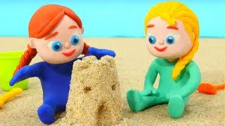Frozen Elsa & Anna Play w/ Sand ❤  Superhero Babies & Hulk Play Doh Cartoons ❤ Stop Motion Videos