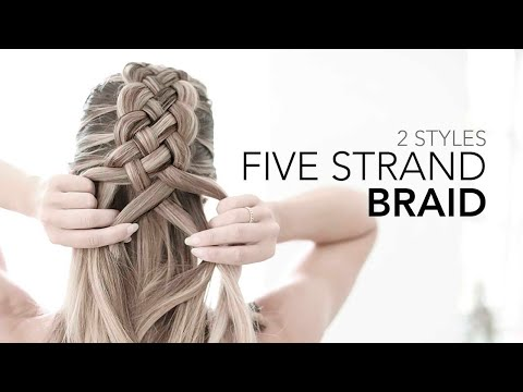 Five (5) Strand Braid + Messy Bun Tutorial - How to DIY