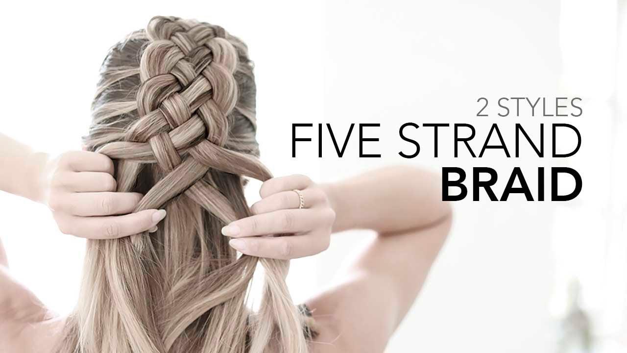 Stunning Five 5 Strand Braid Edgy Messy Bun Tutorial