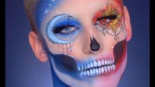 Sun and Moon Skull Halloween Tutorial // Ossi Glossy