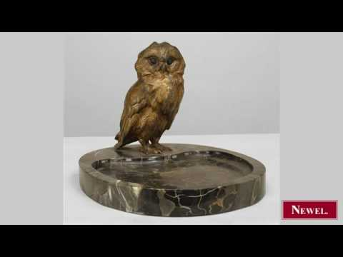 Antique French Victorian gilt metal ashtray with owl standin