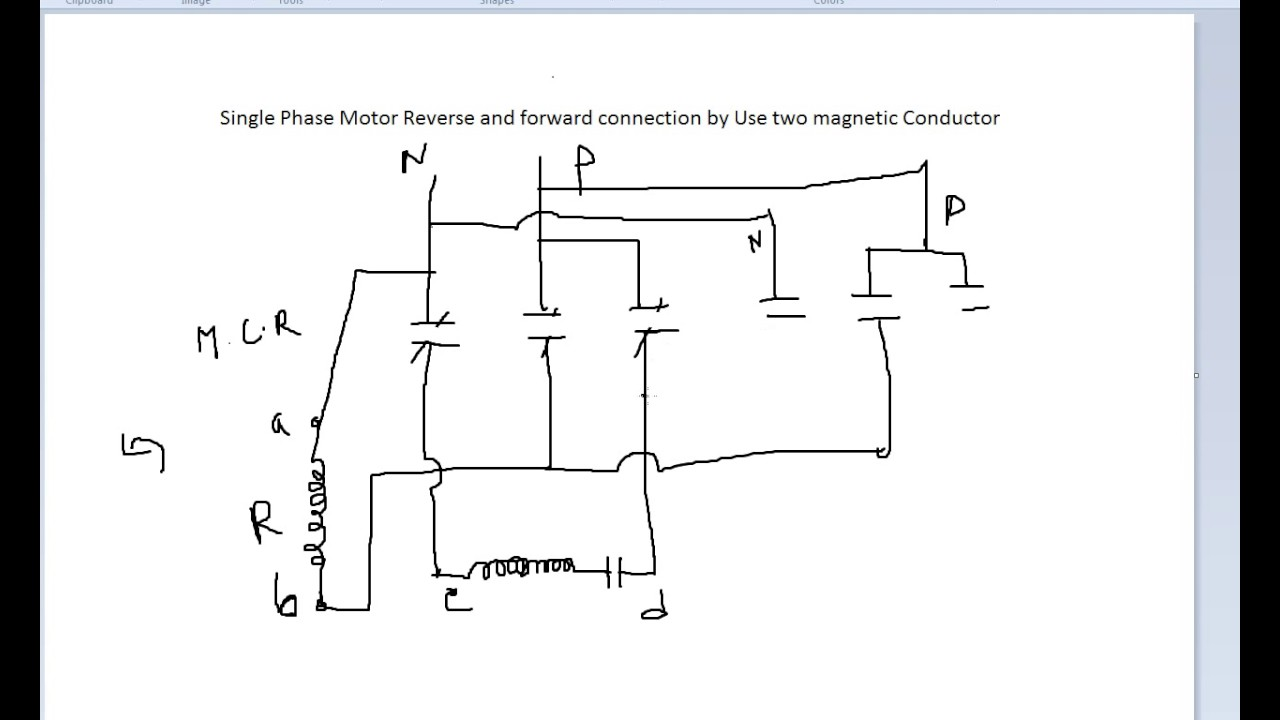 maxresdefault single phase motor reverse and forward connection youtube single phase reversing contactor diagram at metegol.co